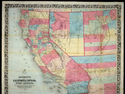 Bancroft's map of California, Nevada, Utah and Arizona