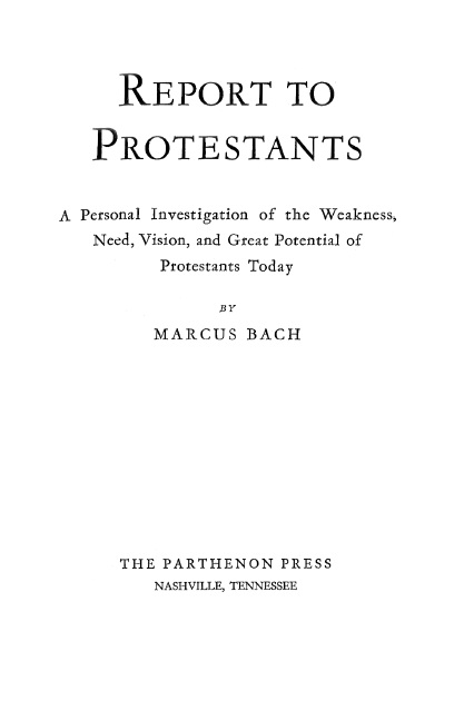 Report to Protestants