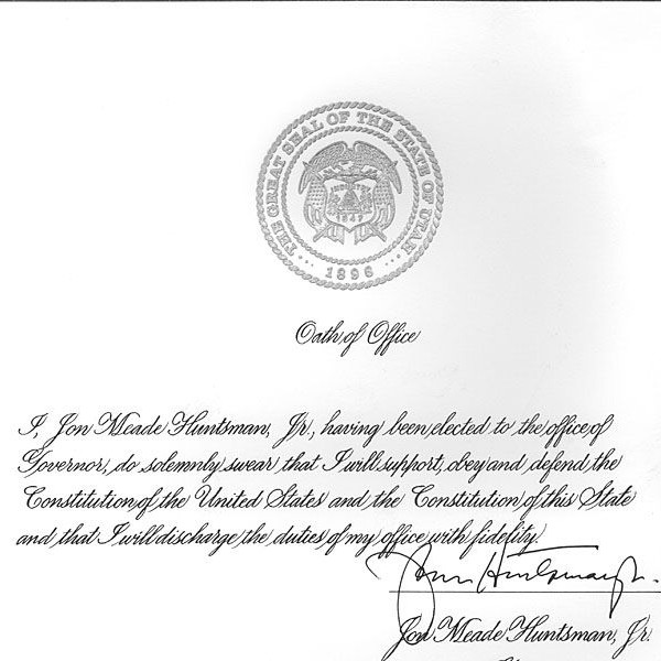 Jon Huntsman Oath of Office
