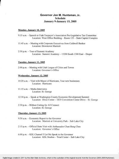 Jon Huntsman Schedule