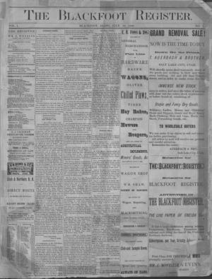 The Blackfoot Register Volume 1 Number 1. The Idaho News 1880-07-10